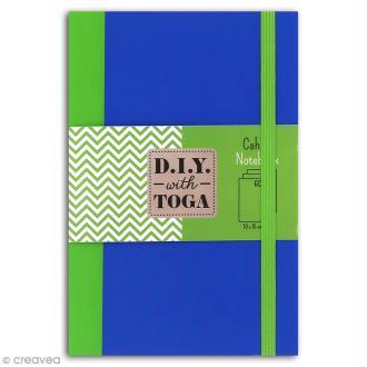 Carnet de poche bicolore - 60 pages - Bleu et vert - 10 x 15 cm