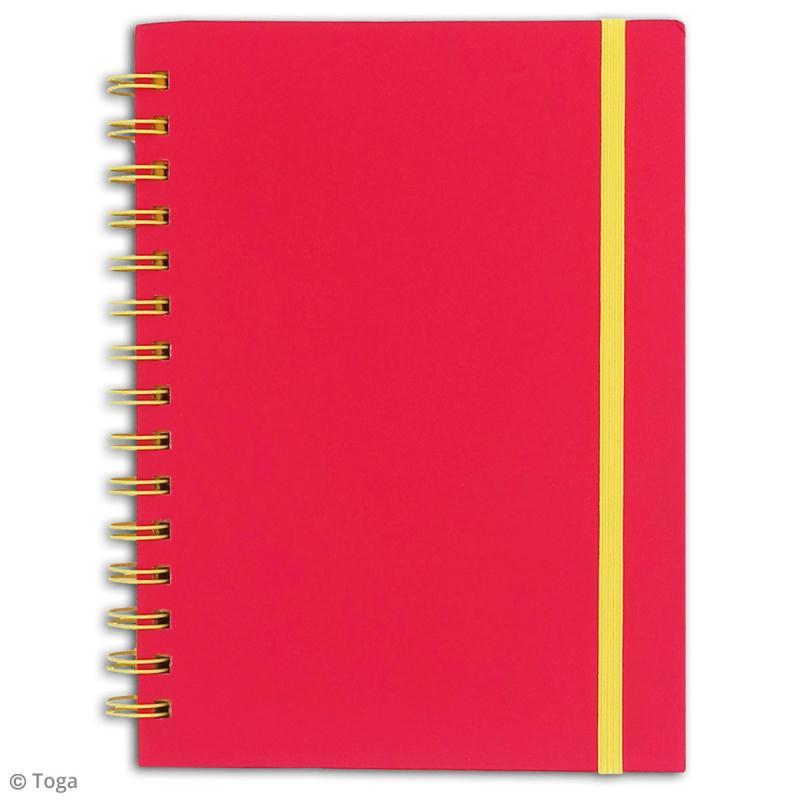 Carnet à spirales bicolore - 60 pages - Fuchsia et jaune - 15 x 21 cm - Photo n°2