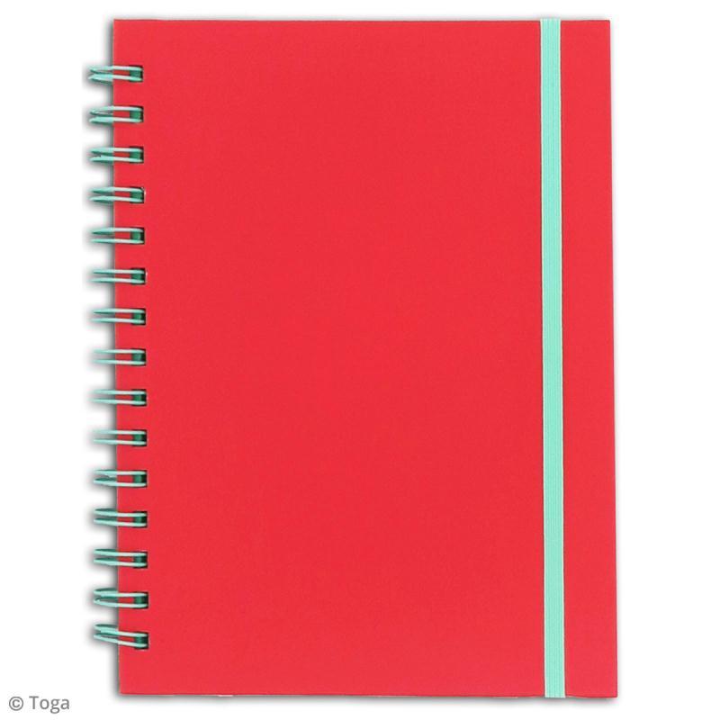 Carnet à spirales bicolore - 60 pages - Corail et menthe - 15 x 21 cm - Photo n°2
