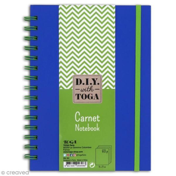 Carnet à spirales bicolore - 60 pages - Bleu et vert - 15 x 21 cm - Photo n°1