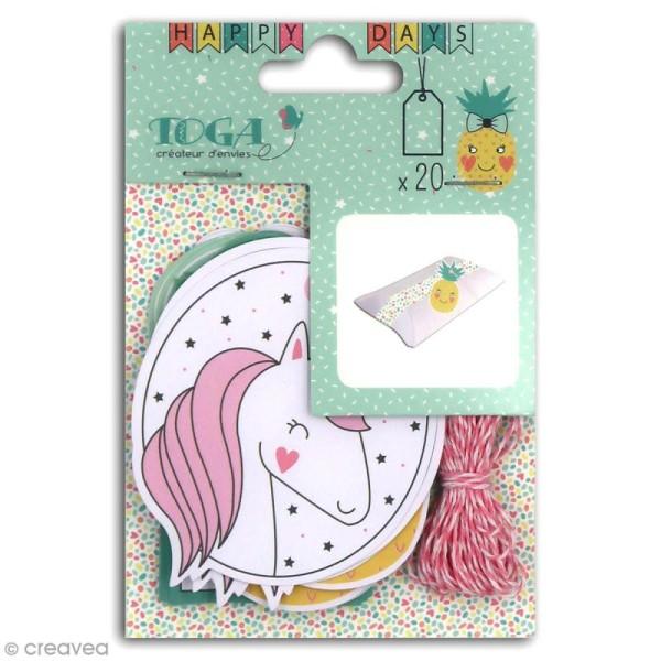 Set étiquettes et ficelle twine Toga - Happy Days - 20 pcs - Photo n°1