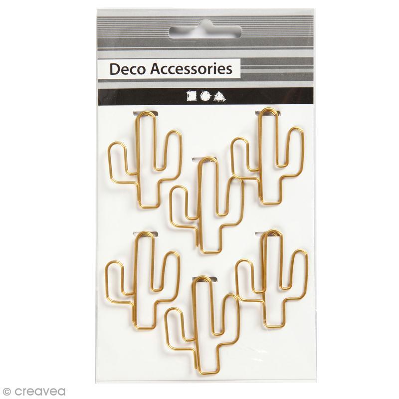 Trombones Cactus Dorés - 3 x 4 cm - 6 pcs - Photo n°1