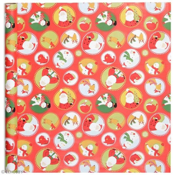 Rouleau papier cadeau - Personnages de Noël - 50 cm x 5 m - Photo n°2