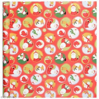 Rouleau papier cadeau - Personnages de Noël - 50 cm x 5 m