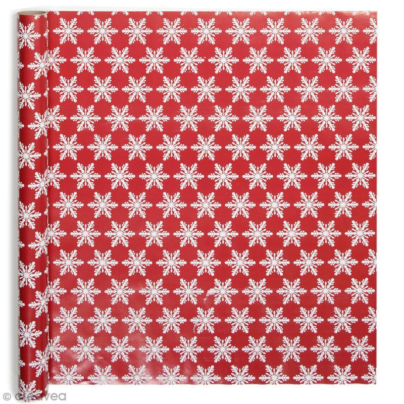 Rouleau papier cadeau - Flocons brodés - 50 cm x 3 m - Photo n°1