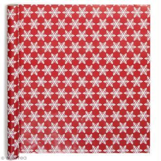 Rouleau papier cadeau - Flocons brodés - 50 cm x 3 m