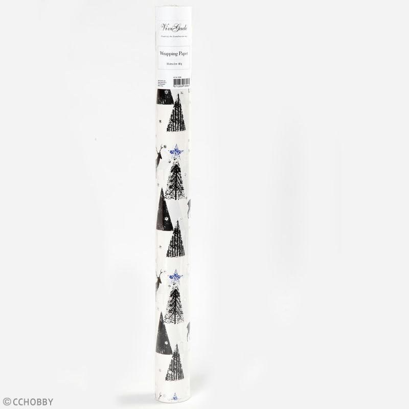 Rouleau papier cadeau - Sapins détail argenté - 50 cm x 3 m - Photo n°2