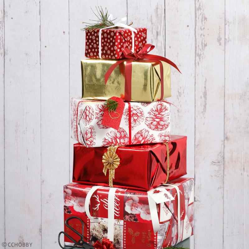 Rouleau papier cadeau - Sapins détail argenté - 50 cm x 3 m - Photo n°3