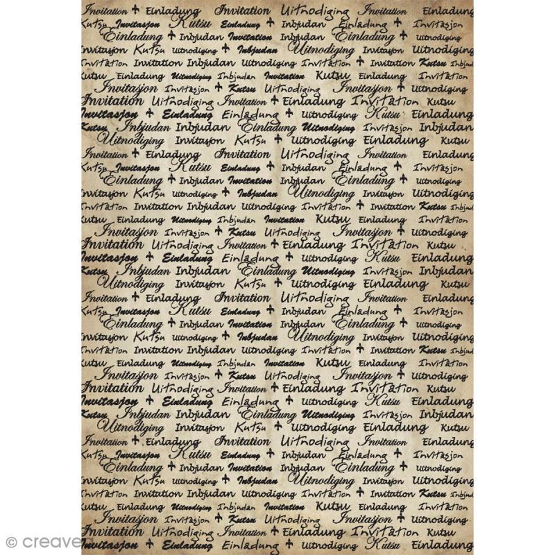 Papier scrapbooking Kraft - Ecriture invitation - 10 feuilles A4 - Photo n°1