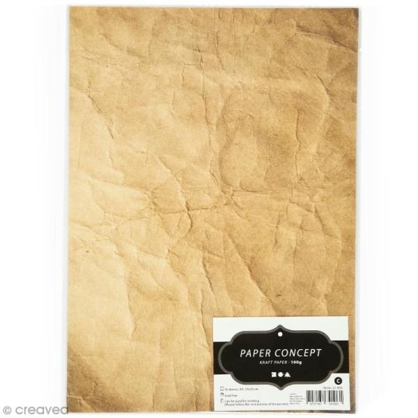 Papier scrapbooking Kraft - Effet froissé - 10 feuilles A4 - Photo n°1