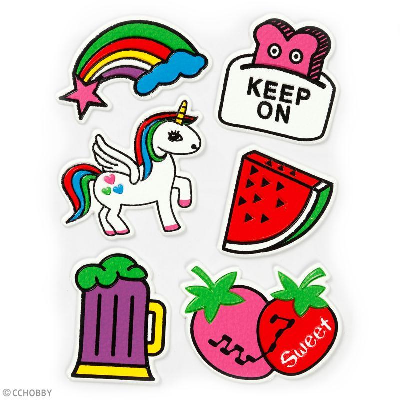 Stickers souples en relief - Fun - 6 autocollants - Photo n°2