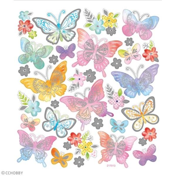 Stickers papier - Papillons Multicolores - Détails argentés - 32 pcs - Photo n°2