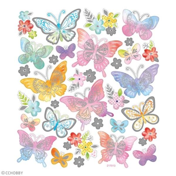 Stickers papier - Papillons Multicolores - Détails argentés - 32 pcs - Photo n°1