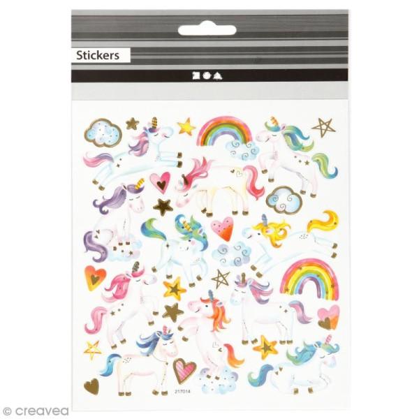 Stickers papier - Licornes - Détails dorés - 31 pcs - Photo n°1