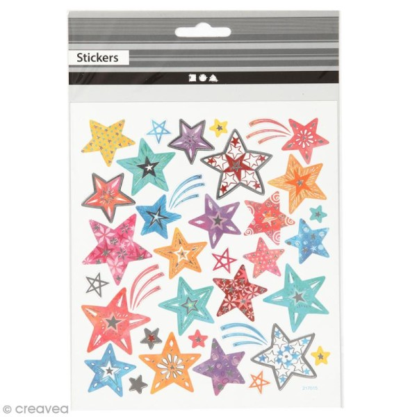Stickers papier - Etoiles Multicolores - Détails argentés - 31 pcs - Photo n°1