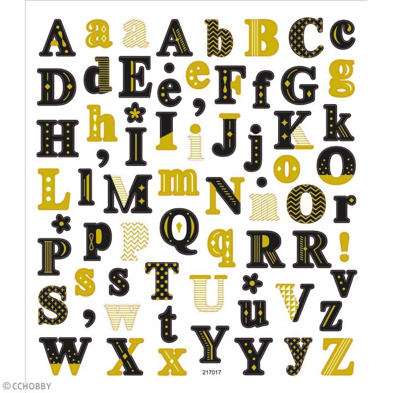 Stickers papier - Alphabet Noir et doré - 68 pcs - Photo n°2