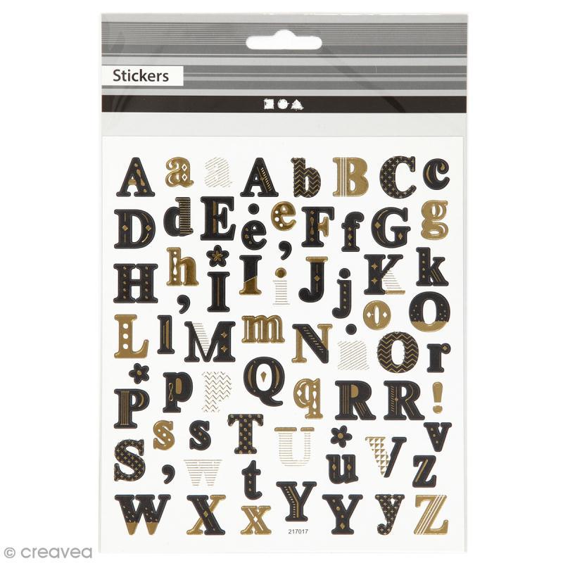 Stickers papier - Alphabet Noir et doré - 68 pcs - Photo n°1