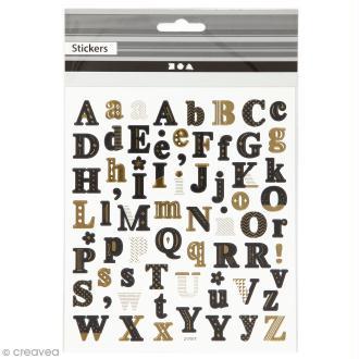 Stickers papier - Alphabet Noir et doré - 68 pcs