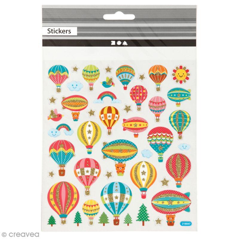 Stickers plastifiés - Montgolfière Multicolores - Détails Paillettes dorées - 45 pcs - Photo n°1