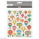 Stickers plastifiés - Montgolfière Multicolores - Détails Paillettes dorées - 45 pcs
