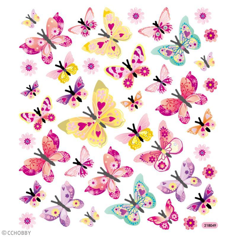 Stickers plastifiés - Papillons Roses - Détails Paillettes irisées - 40 pcs - Photo n°2