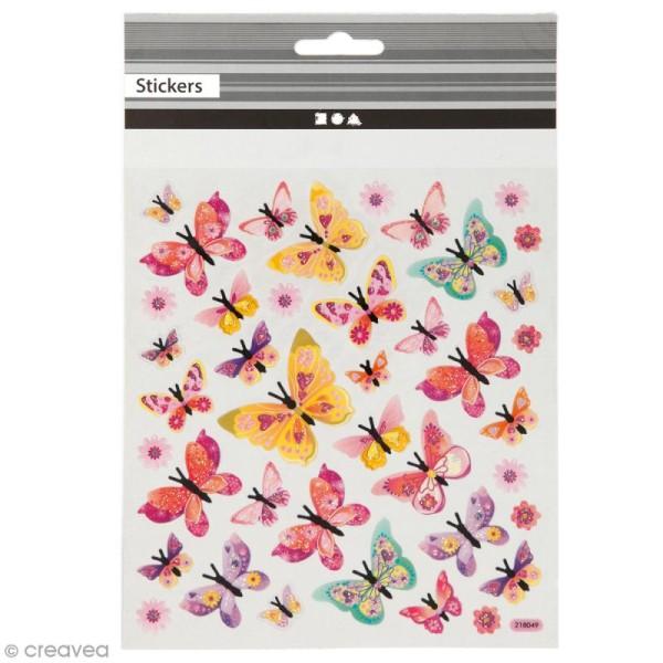 Stickers plastifiés - Papillons Roses - Détails Paillettes irisées - 40 pcs - Photo n°1