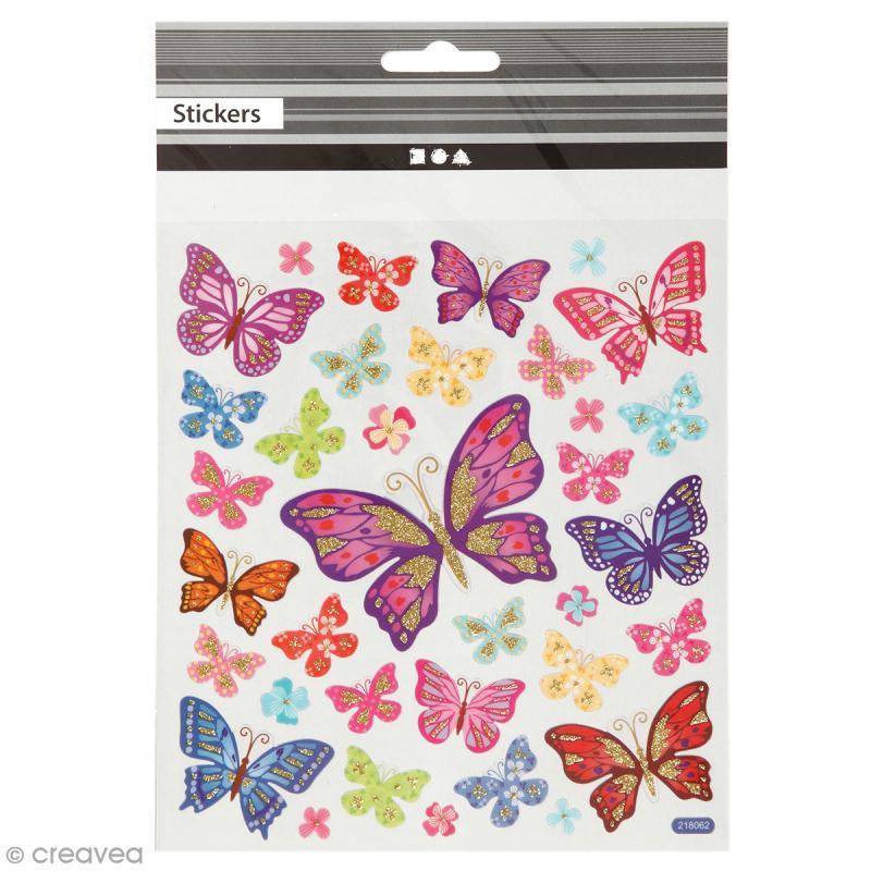 Stickers plastifiés - Papillons Multicolores - Détails Paillettes dorées - 35 pcs - Photo n°1