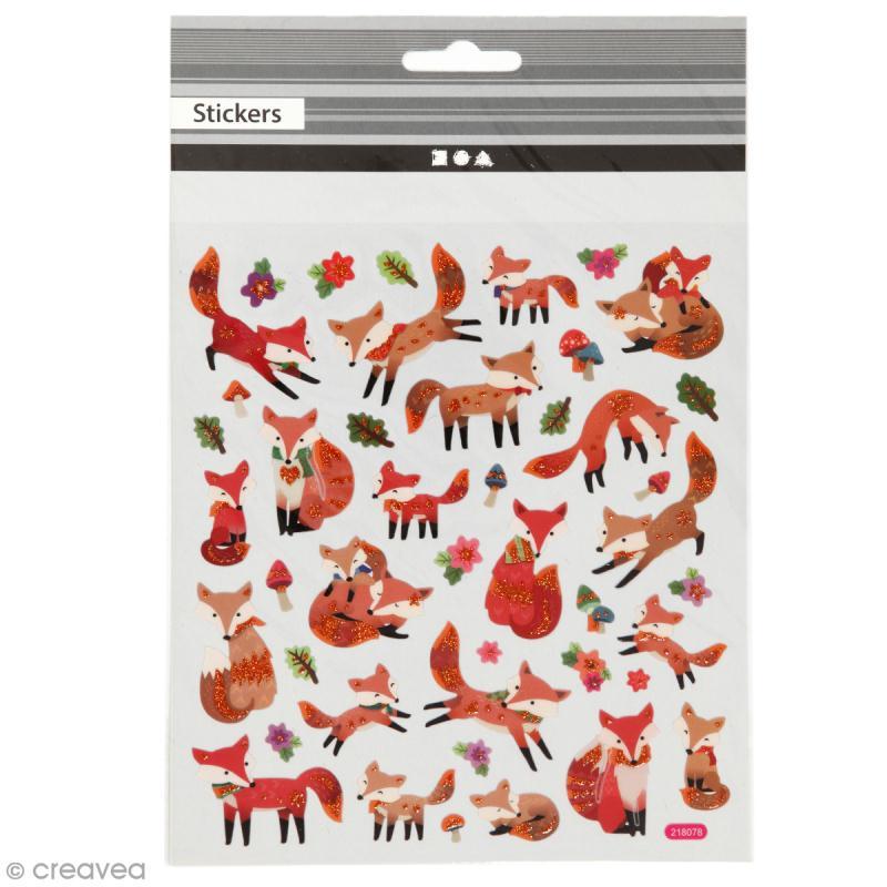 Stickers plastifiés - Renards Roux - Détails Paillettes oranges - 43 pcs - Photo n°1