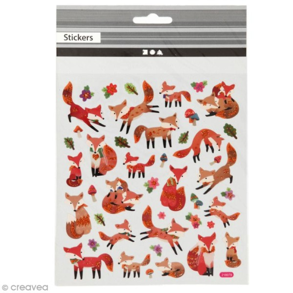 Stickers plastifiés - Renards Roux - Détails Paillettes oranges - 43 pcs - Photo n°1