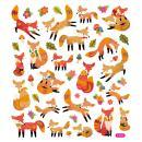 Stickers plastifiés - Renards Roux - Détails Paillettes oranges - 43 pcs - Photo n°2
