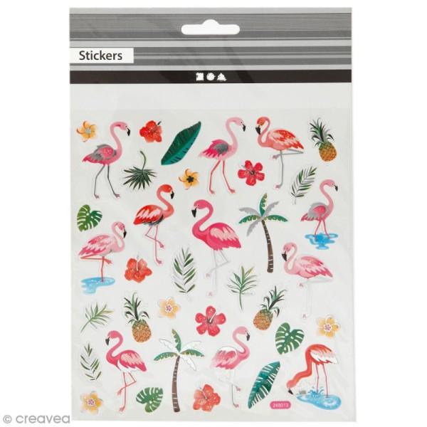 Stickers plastifiés - Flamant roses - Détails Paillettes argentées - 37 pcs - Photo n°1