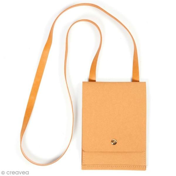 Petit sac à bandoulière en papier effet cuir - 13 x 18 cm - Photo n°1