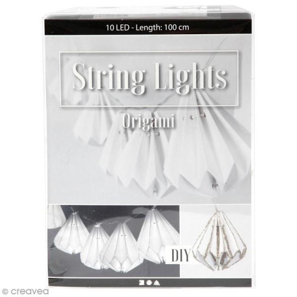 Guirlande Lumineuse à LED 100 cm - Lampions origami coniques - Photo n°1
