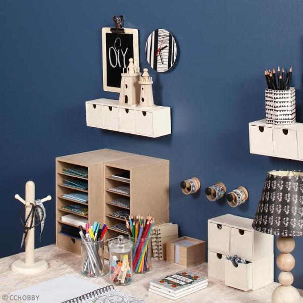 Meuble casier à tiroirs en bois brut - 2 tiroirs - 18 x 9,5 x 10 cm - Photo n°2