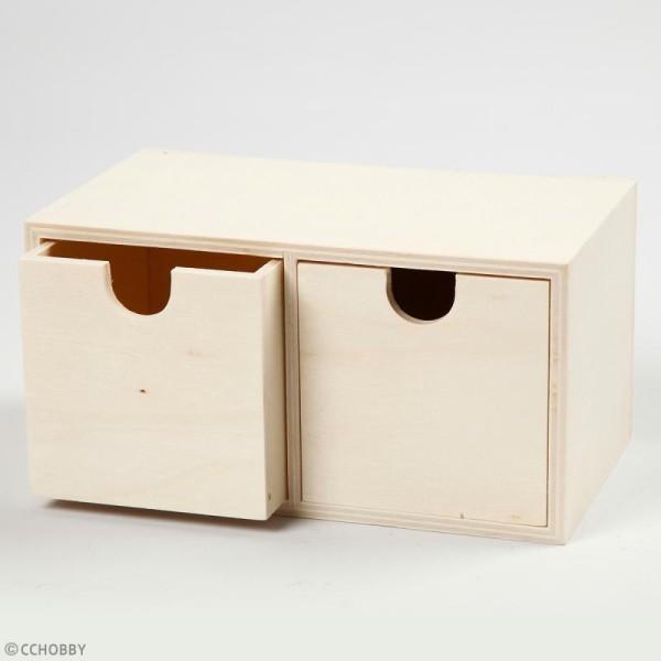 Meuble casier à tiroirs en bois brut - 2 tiroirs - 18 x 9,5 x 10 cm - Photo n°3