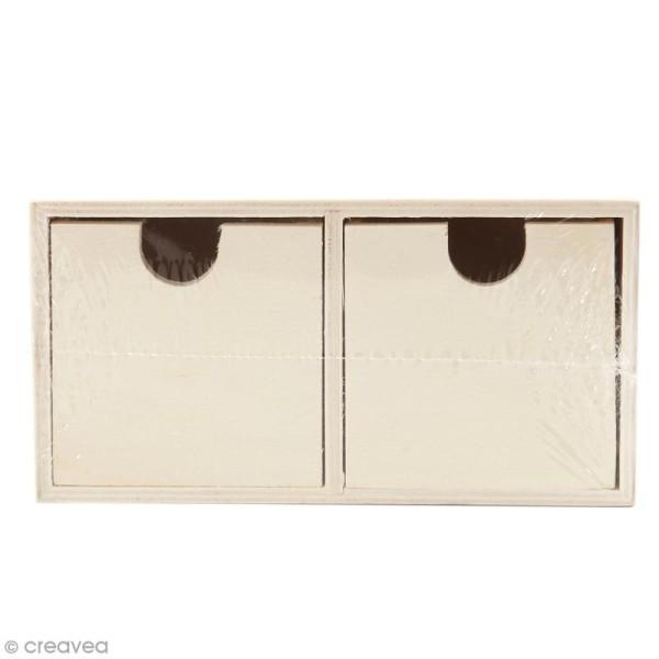 Meuble casier à tiroirs en bois brut - 2 tiroirs - 18 x 9,5 x 10 cm - Photo n°1