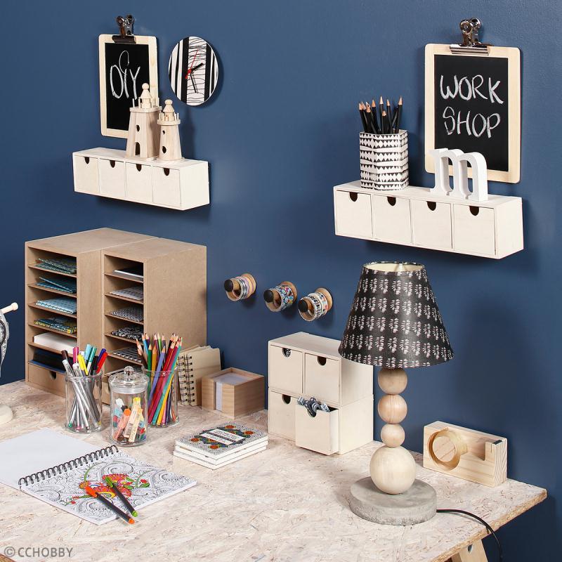 Meuble casier à tiroirs en bois brut - 4 tiroirs - 35 x 8 x 9,5 cm - Photo n°2