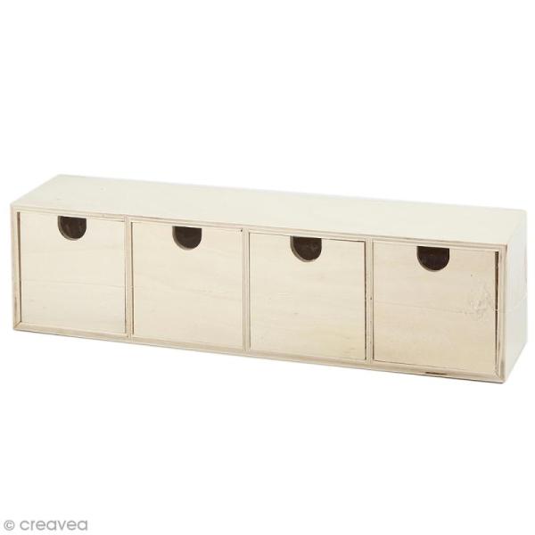 Meuble casier à tiroirs en bois brut - 4 tiroirs - 35 x 8 x 9,5 cm - Photo n°1