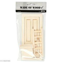 Miniature décorative en bois - La porte du lutin - 8 x 18 cm - 3 pcs