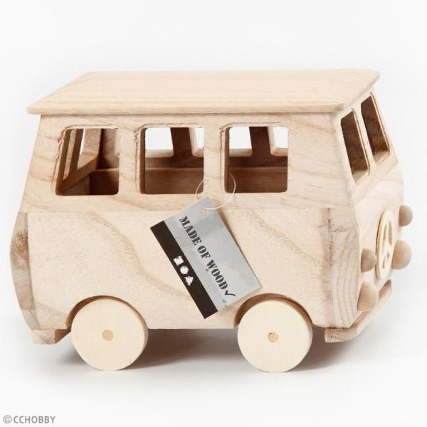 Mini-van en bois à décorer - 17 x 13 cm - Photo n°2
