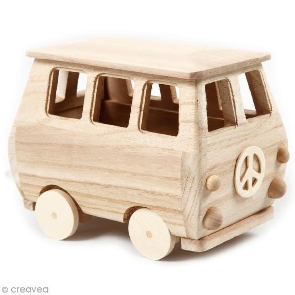 Mini-van en bois à décorer - 17 x 13 cm - Photo n°1
