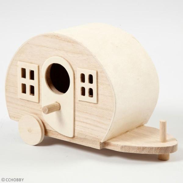 Caravane en bois à décorer - 18 x 11 cm - Photo n°2