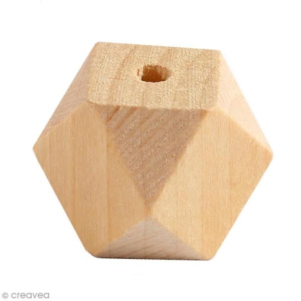 Perles polygonales en bois à décorer - 20 mm - 6 pcs - Photo n°1