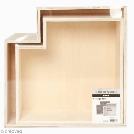 Etagères Géométriques en bois à décorer - 27 et 31 cm - 2 pcs - Creotime