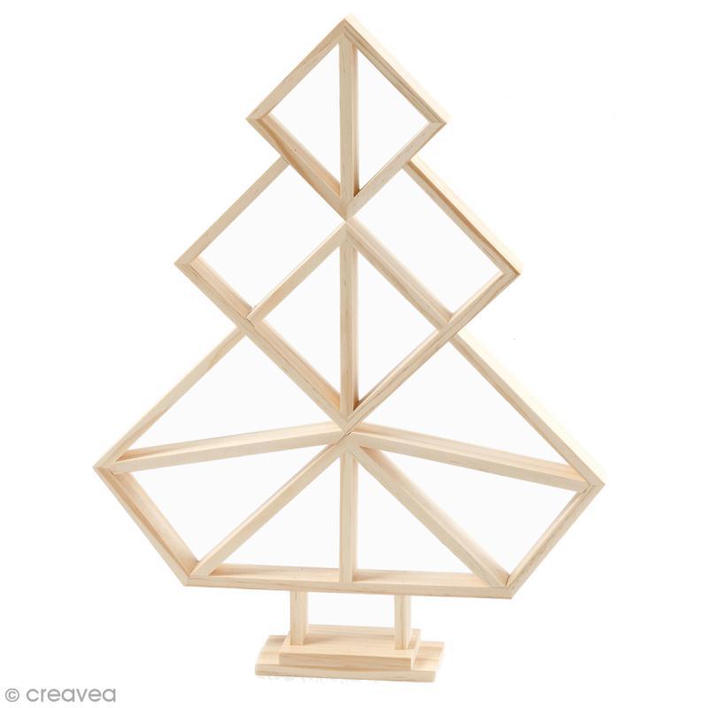 Sapin géométrique en bois à décorer - 31 x 40 cm - Photo n°1