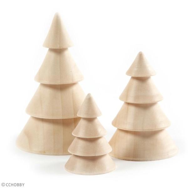 Figurines en bois à décorer - Sapins - 6 à 10 cm - 3 pcs - Photo n°2