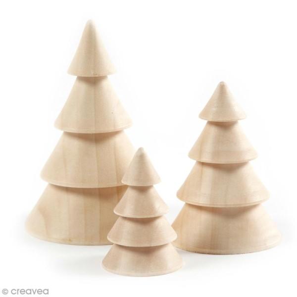 Figurines en bois à décorer - Sapins - 6 à 10 cm - 3 pcs - Photo n°1
