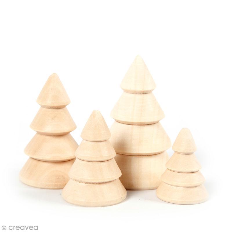 Petites figurines en bois à décorer - Sapins - 3 à 6 cm - 4 pcs - Photo n°1