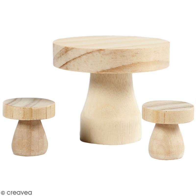Décoration miniature - Table et tabourets - 6 x 5 et 2,5 x 2,5 cm - 3 pcs - Photo n°1