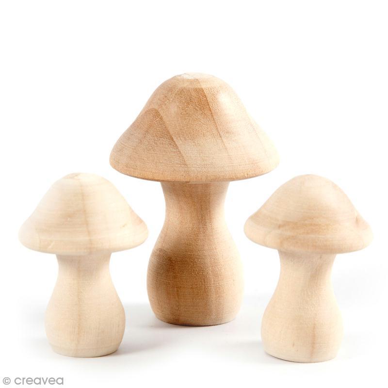 Petites figurines en bois à décorer - Champignons - 4,5 et 6,5 cm - 3 pcs - Photo n°1